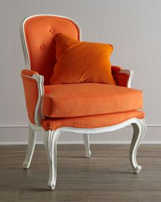 """""""Breena"""" Pompadour Armchair by Florence de Dampierre at Horchow great Louis XV-style with eye-popping orange upholstery Home, Furnishings, Horchow, Orange Chair, Furniture, Home Furniture, Armchair, Home Furnishings, Louis Xv Style Armchairs"""