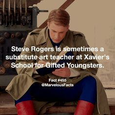 Steve is actually really good at drawing, and History..<< He's not just really good, he graduated art school before he ever became Captain America.