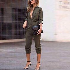Cheap bodycon jumpsuit, Buy Quality long jumpsuit directly from China fashion jumpsuit Suppliers: Sexy Women New Fashion Slim Bodycon Jumpsuit Long Sleeve Army Green Solid Casual Bodysuit Ladies Vintage Romper Long Jumpsuit Bodycon Jumpsuit, Jumpsuit Outfit, Casual Jumpsuit, White Jumpsuit, Ladies Jumpsuit, Short Jumpsuit, Floral Jumpsuit, Pant Jumpsuit, Green Fashion