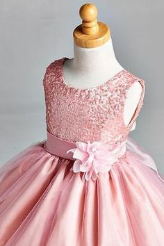 NEW Dusty Rose Sequence Dress Tulle Fishing Line Flower Girl Pageant Recital #28