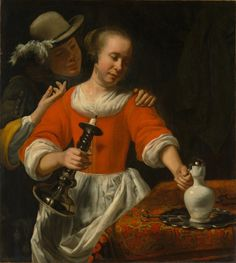 A Young Woman and a Cavalier, early 1660s by Cornelis Bisschop (Dutch, 1630–1674)