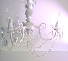 Antique Chandelier White 1930s Lighting Shabby Chic Vintage via Etsy- will be in my bedroom