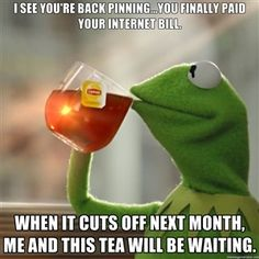I see you're back pinning...you finally paid your internet bill. When it cuts off next month, me and this tea will be waiting.   Snitching Kermit the Frog