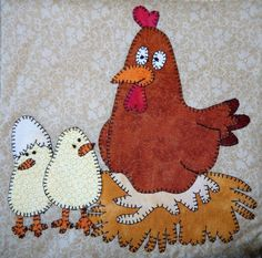 hen and chick quilt patterns | Mama Hen and Chicks Applique Block by MsPDesignsUSA - Craftsy