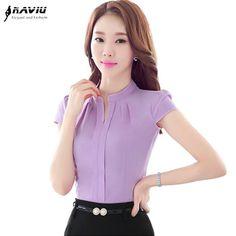 Elegante Formal del V-cuello de la blusa de las mujeres OL moda de verano camisa de gasa manga corta delgada señoras de la oficina más el tamaño tops Lavanda Blanco