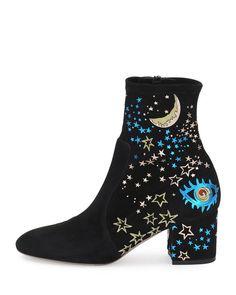 Valentino  -  Astro Couture Suede Bootie, Black/Multi $2,145.00