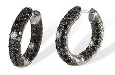 Black and White Diamond 18k Gold Hoop Earrings