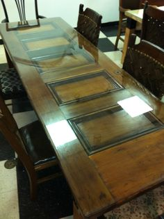 Custom Antique Door Table With Beveled Glass Top By Ted Collier Designs
