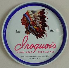 Vintage - Iroquois Beverage Corporation of Buffalo - New York - USA - Iroquois Indian Head Beer - ''Since 1842'' - Tray - 1945