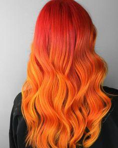 Orange hair color shades: orange hair dye tips. Orange Hair Bright, Orange Ombre Hair, Ombre Blond, Pink Yellow, Teal Orange, Blue Green, Color Yellow, Hot Hair Colors, Bright Hair Colors