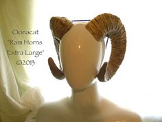 Extra Large Pale Ram Horns - Saga Inspired - Made to Order from Oonacat on Etsy. Saved to Cosplay. Satyr Costume, Horns Costume, Halloween Cosplay, Cosplay Costumes, Fairy Cosplay, Halloween Costumes, Larp, Home Design, Ram Horns