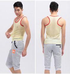 Sexy Underwear Gay Clothing Stripe Mesh Net Shirts Fashion Man Clothes Undershirts Vest Stripe See Through Tank Tops FX1022