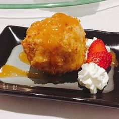 One of my fave desserts of all time - deep fried ice cream with caramel sauce #chinesedessert #deliciousness #thefidgetyfoodie