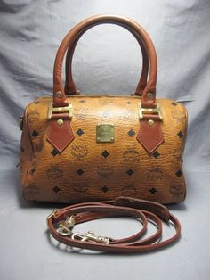 Germany Mini Boston Bag Camel Mcm Logo