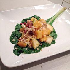 salad with pomegranate seeds apple, shiitake, onion, and walnuts ...
