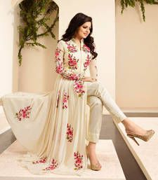 Buy Cream georgette embroidered semi stitched salwar with dupatta anarkali-salwar-kameez online