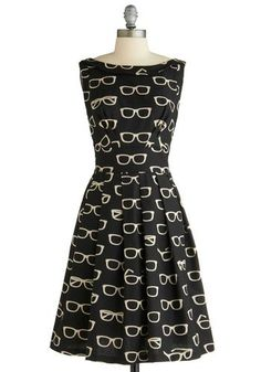 Frames and Fortune novelty print glasses dress from Modcloth #retro #dress #aff # modcloth
