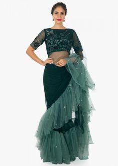 Pine Green Saree With Pre - Stitched Frill And Blouse In 3 D Flower Online - Kalki Fashion Dhoti Saree, Saree Gown, Drape Sarees, Net Saree, Lehenga Choli, Trendy Sarees, Stylish Sarees, Blouse Patterns, Saree Blouse Designs