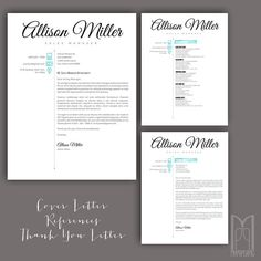 Resume Template And Cover Letter Template Van Mypaperpig Op Etsy