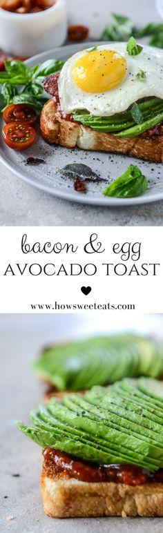 Bacon, Egg and Avocado Toast with Tomato Jam by @howsweeteats I howsweeteats.com