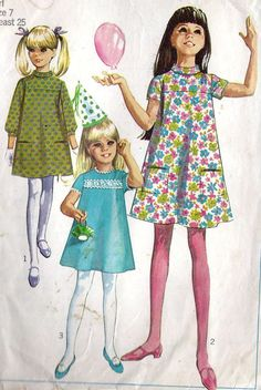 Simplicity 7372 A Sewing Patterns Girls, Vintage Patterns, Clothing Patterns, Vintage Outfits, Vintage Dresses, Vintage Fashion, Mod Girl, Illustration Mode, Vintage Mode