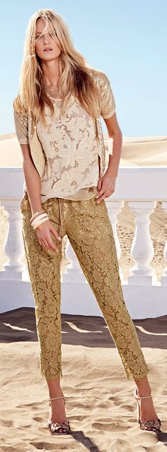 Twin-Set Lace Pants & Top / Simona Barbieri Collection S/S 2014