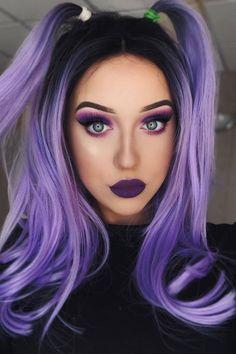 A charming style purple lavender ponytail 426927239675442610 Hair Color Purple, Hair Dye Colors, Cool Hair Color, Blue Hair, Ombre Color, Purple Style, Black To Purple Hair, Violet Hair, Pink Hair