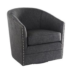Put your plans to introduce stylish comfort to a small space in motion with our fabric-upholstered Arlo Swivel Chair. Living room, entertainment space, or office, Arlo brings all the amenities of large-scale chairs down to size. What's more, the full, 360 swivel mechanism means as the conversation turns so can you. Note the classic lines and tailored design, with a sweeping back and distinctive, hand-tacked nailhead embellishments. Small-scale, swiveling lounge chair...