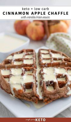Keto dessert recipe for fall that reminds me of apple pie - cinnamon apple chaffle recipe with vanilla bean sauce. Keto dessert recipe for fall that reminds me of apple pie - cinnamon apple chaffle recipe with vanilla bean sauce. Keto Friendly Desserts, Low Carb Desserts, Low Carb Recipes, Dessert Recipes, Keto Apple Recipes, Delicious Breakfast Recipes, Whole30 Recipes, Recipes Dinner, Healthy Desserts