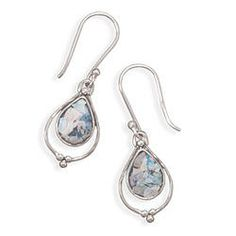 Sterling silver french wire earrings with open pear shape Ancient Roman Glass drop. Comes with Certificate of Authenticity.