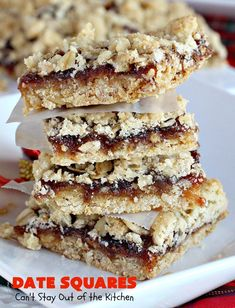 Date Squares - - A luscious date filling is sandwiched between a wonderful oatmeal streusel crust and topping in these tasty treats. They're rich, sweet and sensational! Terrific for holiday and Christmas baking and for Christmas Cookie Exchanges. The Oatmeal, Lord Byron, B Recipe, My Best Recipe, Over The Top, Christmas Cookie Exchange, Christmas Baking, Holiday Baking, Biscotti