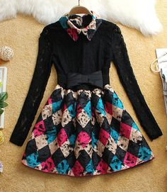 #517 Flower with Butterfly Belt Long-Sleeved Dress
