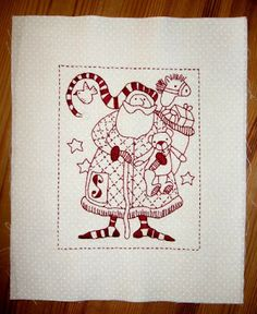 Patchgarden: The Wish Quilt from RedBrolly (link to free pattern)  I like the enlarged single stitchery on all white quilt