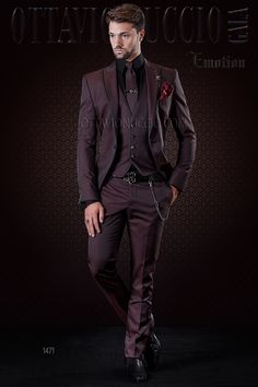Burgundy men suit with micro patterns and black trims #menswear #menstyle #groom