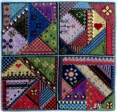crazy quilting cross stitch | Crazy Quilting in Cross Stitch from Carolyn Manning Designs - click to ..