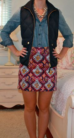 I love how it still looks young but professional. love the skirt and the top with vest
