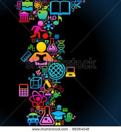 vector background of the many icons on the topic of education - stock vector