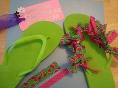 flip flop craft- definitely doing this for girls' sleepover party! Slumber Party Crafts, Spa Birthday Parties, Slumber Parties, Craft Party, Girl Parties, Birthday Presents, Flip Flops Diy, Flip Flop Craft, Girl Sleepover