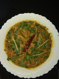 Mutton kadhai with ginger flakes