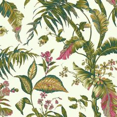 Fiji Garden Wallpaper in Green and Reds design by York Wallcoverings