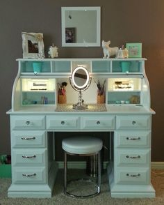 -Roll top desk makeover- By Chelsea Lloyd Vanity, Makeup Station, Upcycling, DIY, Desk, White Mint, HomeGoods Stool, Painted Laminate, Illuminated Mirror, Girly, Spare Bedroom