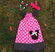 Minnie Mouse Girls Boutique Pillowcase Dress Set with Matching Headband and Chunky Bubble Necklace 1 through 6 Years Birthday Outfit Disney by MadameSofiaBoutique on Etsy https://www.etsy.com/listing/240161093/minnie-mouse-girls-boutique-pillowcase