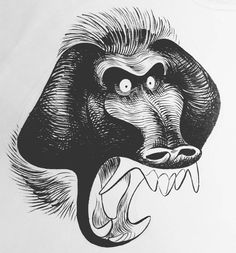 #inktober #sketch No.3 (a little behind).. How many #brush stokes does it take to make a baboon angry? by dheezen
