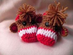 Monkey Booties 0 to 6 Month Size by mccdingbat on Etsy, $20.00