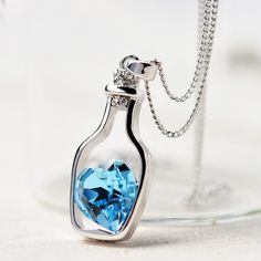 2016 New Fashion Crystal Necklace Women Jewelry Love Drift Bottles Pendant Chain Rhinestone Popular Necklace Chain 1314 [Affiliate]