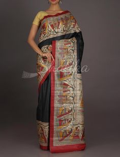 Kavita Rich Folklore On Border Pallu #MadhubaniHandPaintedSaree