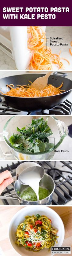 This delicious weeknight dinner recipe is so rich and creamy. Spiralized sweet potato (noodles) and blended hemp seed and kale (pesto sauce) are the key ingredients to make this healthy pasta dish.