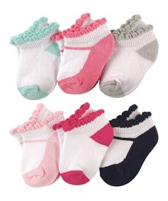 Take a look at this Pink, Blue & White Mary Jane No Show Six-Pair Socks Set today!