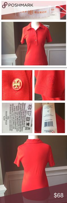 "❗️Last Day❗️Tory Burch NWT orange polo shirt Tory Burch polo shirt. The color is a gorgeous, vibrant red-orange, called habanero pepper. Cover shot model wears similar Tory Burch polo in same color. See pics for beautiful details like the double-T medallion on the sleeve and buttons. New condition. 100% cotton. Comes w/extra button. Purchased last summer but never wore. Measures approx 16"" across bust, 23"" long, 8"" sleeves. Smoke and pet free. Tory Burch Tops Tees - Short Sleeve"