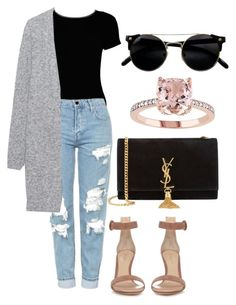 """""""casual outfit"""" by fashionblogger2122 ❤ liked on Polyvore featuring Boohoo, Topshop, Acne Studios, Gianvito Rossi and Yves Saint Laurent"""